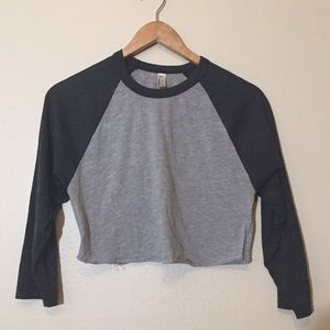 American Apparel Cropped Baseball T-Shirt